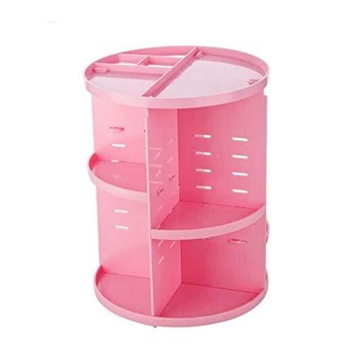 Rfeifei 360 degrés Rotation Maquillage Organisateur Brosse Titulaire Bijoux Organisateur Affaire Bijoux Maquillage cosmétique boîte de Rangement Plateau (Color : Pink)