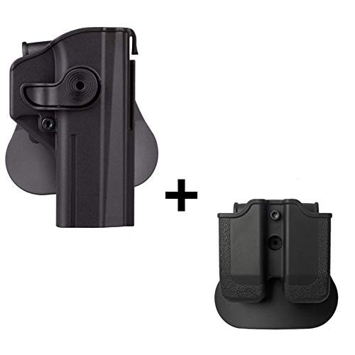 IMI CZ SHADOW 2 Holster + Double magazine pouch, polymer retention 360 roto level 2 safety w trigger guard lock tactical gun holster for CZ P-09 & Shadow2 pistol handgun