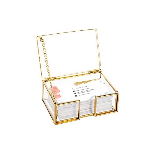 Feyarl Caja de tarjeta de visita de cristal transparente con tapa dorada para oficina o escritorio con nombre de tarjeta de visita, organizador de almacenamiento para regalo de cumpleaños
