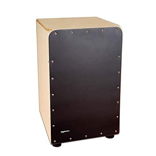 Amazon Basics Wooden Birch Cajon Percussion Box with Internal Guitar Strings - Black