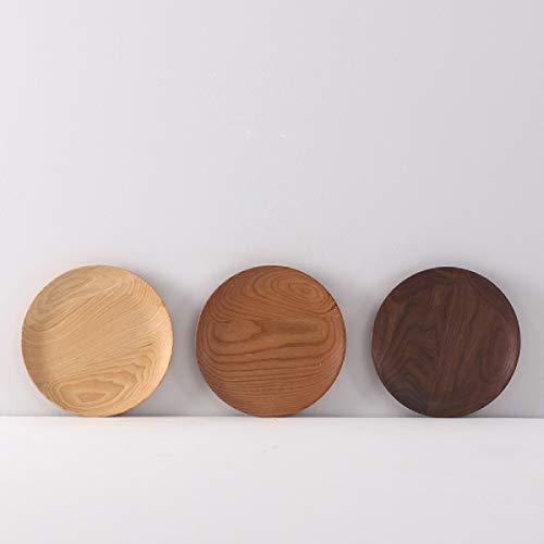 Bandeja redonda de madera para servir, plato de frutas, plato de té, plato de madera, plato de servir de postre, bocadillo, dulces, ensalada, pan, sushi, plato de madera, 120 x 18 mm, 1 unidad
