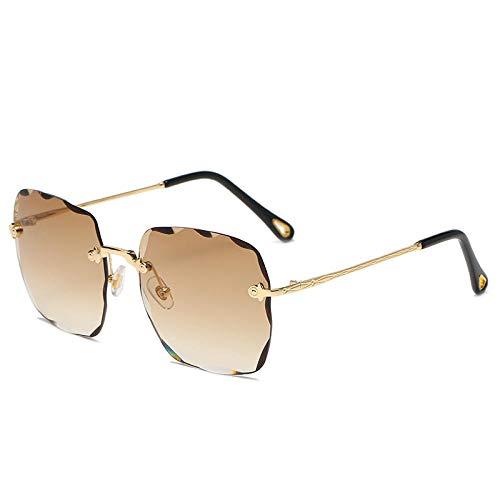 hqpaper Gafas de sol cuadradas sin montura de moda para mujer, sombrilla, espejo, té de gradiente de todo fósforo
