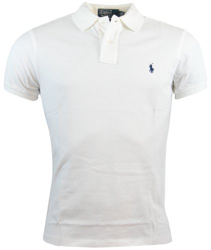 Polo Ralph Lauren Mens Custom Fit Mesh Polo Shirt - M - White