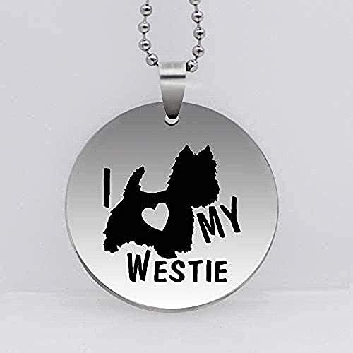 POIUIUYH Co.,ltd Collar de Acero Inoxidable I Love My Westie Terrier Perro Colgante Collar Mascota Perro joyería Regalo para Mujeres Regalos