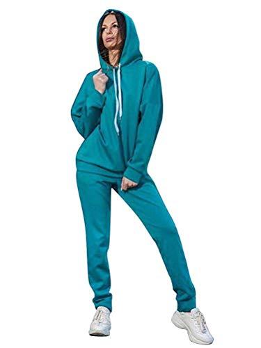 Minetom Donna 2 Pezzi Tuta da Ginnastica Sportiva Tuta Jogging Yoga Manica Lunga Pullover Felpa con Cappuccio Top e Pantaloni Autunno Inverno (IT 48, B Blu)