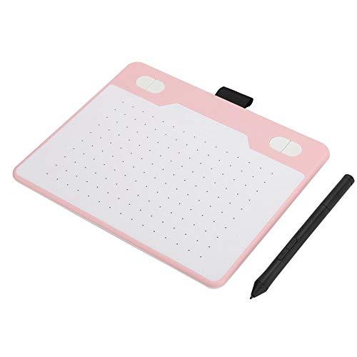 Xuzuyic Tableta de Dibujo Digital, Tableta gráfica con un lápiz sin batería, posicionamiento preciso y bajo retardo, Compatible con Windows, Mac, teléfono móvil (Azul/Rosa/Blanco)(Rosa)