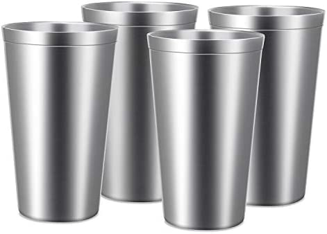 Stainless Steel Cups 16 oz Beasea 4 Pack Stainless Steel Tumbler Stackable Double Wall Vacuum product image