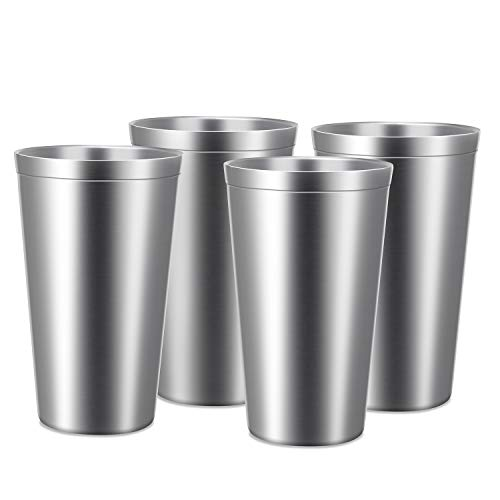 Stainless Steel Cups 16 oz, Beasea 4 Pack Stainless Steel Tumbler Stackable Double Wall Vacuum...