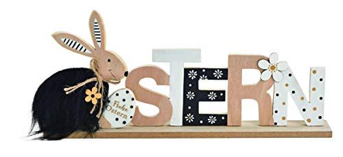 38x17cm Ostern Schriftzug schwarz Weiss Holz Aufsteller Punkte Frühling Osterdeko Osterschmuck Schriftzug Tischdeko Hasen Holzhasen n388wkg Spruch