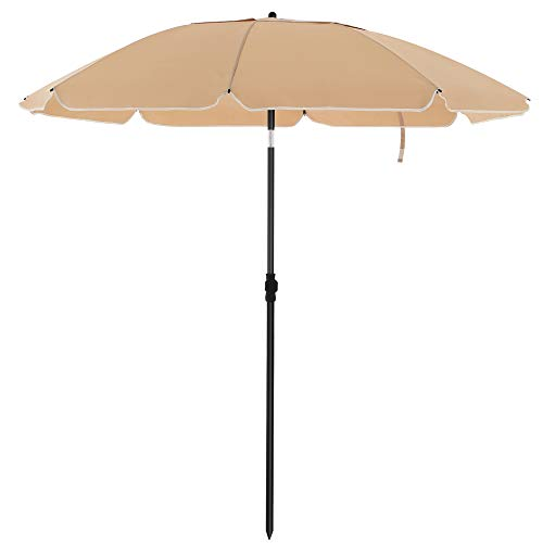 SONGMICS Sonnenschirm für Strand, Ø 200 cm, Gartenschirm, UV-Schutz bis UPF 50+, knickbar, Sonnenschutz, tragbar, Schirmrippen aus Glasfaser, taupeGPU65BRV1
