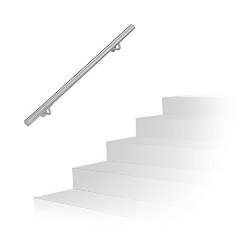 Relaxdays Handlauf, 201er Edelstahl, matt, rundes Treppengeländer, innen & außen, 100 cm, Ø 38 mm, mit...