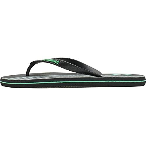 hummel Multi Stripe Zehentrenner Badeschuhe Badelatschen schwarz/grün/weiß 211373-2001, Schuhgröße:37 EU