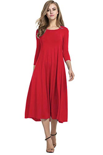 Hotouch Women Casual Rayon Span Butterfly Fit Jersey Midi Dress (Red M)