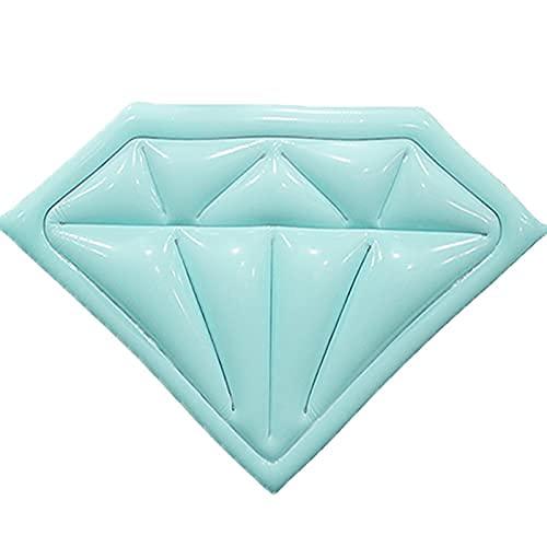 WULOVEMI Flotadores inflables de Diamante Dispuestos en una Cama de Aire, Nadando en el Agua, Cama Flotante Inflable, Anillo de natación 180 * 175cm Azul (Color : Blue, Size : 180 * 175cm)