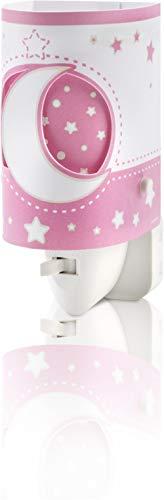 Dalber - 63235LS - Veilleuse Lampe - LED - Lune/Etoiles - Rose