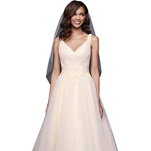 Appliqued Glitter Tulle A-Line Wedding Dress Style WG3930, Ivory, 8