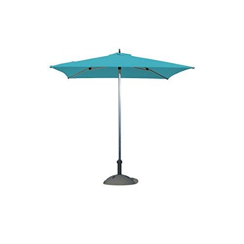 Parasol - Sublimo Carré 2x2m O'Bravia 210g/m2 Bleu azur + Base béton 40kg anthracite