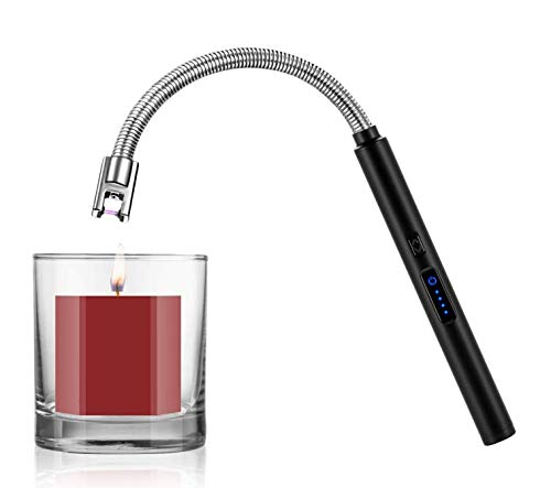 Candle Lighter Smart USB Arc Lighter with Touch Sensor 360° Flexible Long Neck and LED RealTime Battery Capacity Windproof Suitable for Lighting in Candle Fireworks Fireplace Barbecue