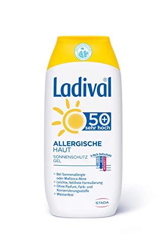 LADIVAL Allergische Haut Sonnenschutz Gel LSF 50+ - Parfümfreies Sonnengel für Allergiker - ohne Farb- und Konservierungsstoffe, wasserfest, 200 ml