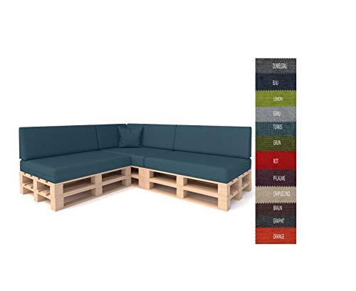 Pillows24 Palettenkissen 8-teiliges Set | Palettenauflage Polster für Europaletten | Hochwertige Palettenpolster | Palettensofa Indoor & Outdoor | Erhältlich Made in EU | Türkis