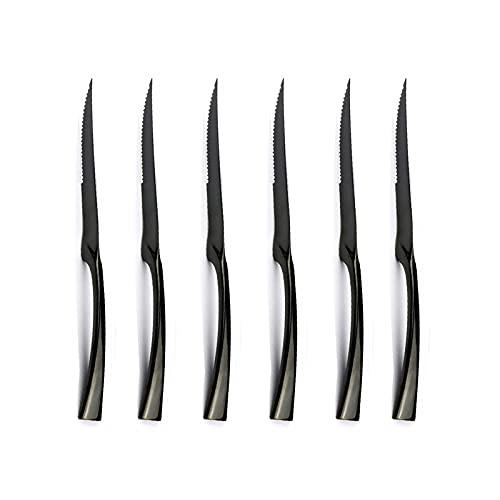 Cuchillos de carne NUEVO 6 PCS/Set de calidad superior de acero inoxidable Cuchillo de filete de oro Sharp arco iris cuchillos Restaurante Black Steak Cuchillos de bistec en vajilla Cubertería