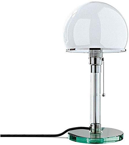 Bauhaus Lampe Wagenfeld Design Schreibtisch Lampe, Wg24 E27 Glas Lampenschirm Tischlampe, Seilschalter Runde Tischleuchte, Modern Tischlicht Leseleuchte Bettleuchte, Arbeitszimmer (A)