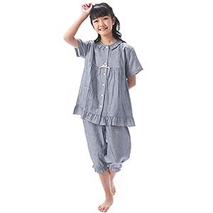 NISHIKI[ニシキ] パジャマ 子ども 女の子 半袖 前開き 綿100% 二重ガーゼ 肌に優しい 上下セット ハーフパンツ 夏 ルームウェア 部屋着 kids (ネイビー/150/72308)