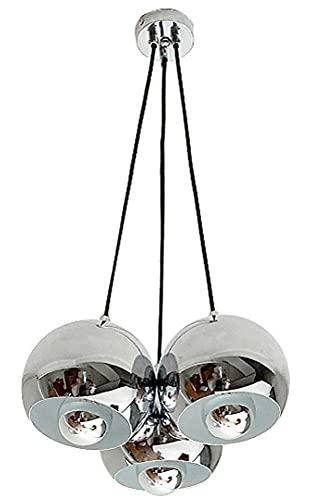 HSPHFX Mid Century Chandelier Bauhaus Space Steampunk Lámpara Colgante De Techo Espejo Bola De Níquel 3 Lámparas Iluminación De Pantalla Cuerda Múltiple Colgante Para Estudio Baño Albergue Tienda De R