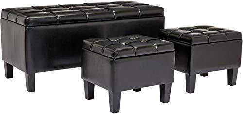 First Hill Bergen 3-Piece Faux-Leather Storage Ottoman Bench Set, Jet Black