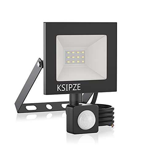 KSIPZE 10W LED Strahler Aussenleuchte Mit Bewegungsmelder Aussen 860LM 6000K Kaltweiß Superhell IP65 Wasserdicht strahler außen LED Scheinwerfer