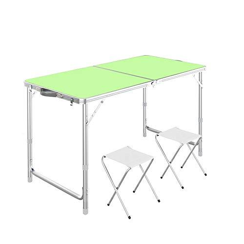 Klappbock Tisch Tragbarer Klappbock 1,2 Meter /4 ft Tragegriff for Außen- und Innenanwendungen for hohe Beanspruchung (Size : Folding Table+2 stools)