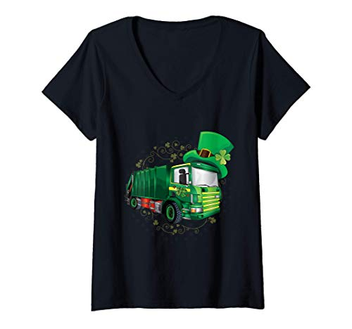 Womens Toddler Pajama Shirt St Patricks Day Green Garbage Truck Boy V-Neck T-Shirt