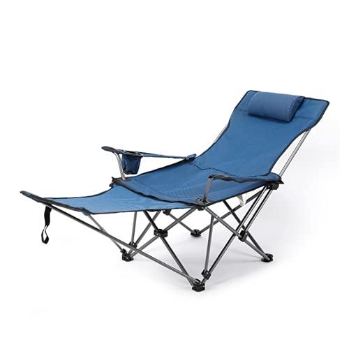 QYYL Silla Portátil para Acampar, Tumbona de Campamento Altura Ajustable con Bolsa de Transporte, Capacidad de Carga 130 kg, diversas Actividades al Aire Libre (Blue/A)