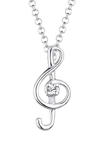 Elli Halskette Damen Notenschlüssel mit Swarovski® Kristalle in 925 Sterling Silber
