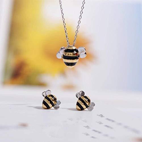 Bee And Fox S925 Sterling Silber Süße Biene Halskette Ohrringe Set, 925 Silver