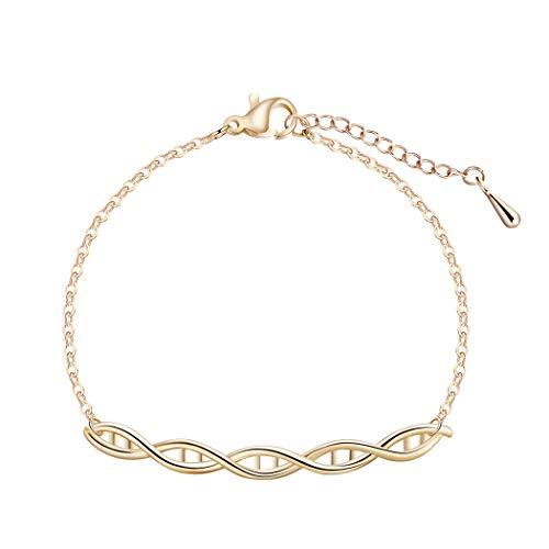 Goldmoleküle DNA Armbänder für Frau Chemische Formel Modeschmuck Piercing Helix Armreif Weibliches Geschenk für Mädchen (Gold)