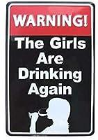 警告女の子飲むヴィンテージスタイルメタルサイン鉄絵画屋内 & 屋外ホームバーコーヒーキッチン壁の装飾 8 × 12 インチ