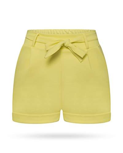 Kendindza Damen Sommer Shorts | Kurze Hose mit Schleife zum binden | Bermuda | Uni-Farben (L/XL, Gelb)