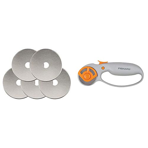 Fiskars 95287097J Rotary Cutter Replacement Blades, 45mm , 5 Pack & Classic (45mm) Comfort Loop Rotary Cutter, 1, steel and orange
