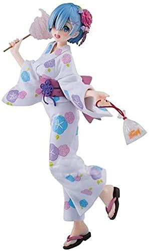 Empieza a vivir de otro mundo Disfraz de kimono y yukata Rem, personajes de dibujos animados, personajes de anime, decoraciones de escritorio, modelos de estatuas, coleccin de juguetes 23 cm