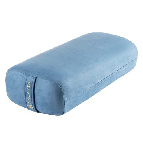 Nolavea Yoga Bolster Cuscino Yoga, per Meditazione e Supporto - Cuscino Rettangolare da Pavimento Effetto Scamosciato - Lavabile con Maniglia di Trasporto