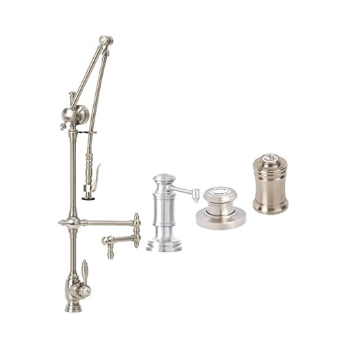 Review Waterstone 4410-18-4-PB Gantry Pulldown Faucet 18″ Articulated Spout 4pc Suite Polished Brass