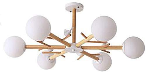 BUNUMO Candelabro Simple nórdico E27 Globe Sombra de Vidrio Lámpara de Techo Creativa Lámpara Colgante de Madera Regulable
