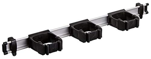 Toolflex One Aluminiumschiene 54 cm mit 3 schwarzen Haltern für Stieldurchmesser von 15-35 mm