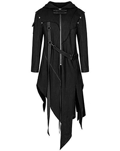 PUNK RAVE da uomo con cappuccio giacca nera GOTICO DIESELPUNK Dystopian APOCALITTICO Felpa con cappuccio