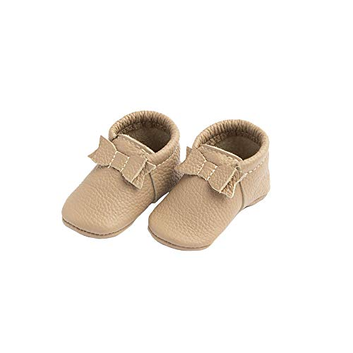 First Pair Soft Sole Leather Bow Moccasins - Newborn Baby Girl Shoes - Size 0 Toast Tan