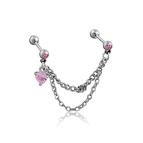 Jixing Double Stud Kette Ohrring Liebe Herz baumeln Kette Quaste Ohr Manschetten Vintage Ohrclip Ohr Rebe, Pink
