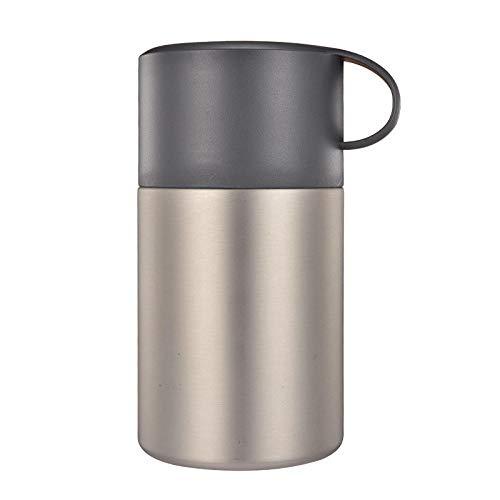 aolongwl Fiambrera Termica 600ml de Gran Capacidad de Acero Inoxidable Almuerzo Caja Portable Office&Family Food Soup Vacuum Braised Pot Insulated Thermos Cup Black