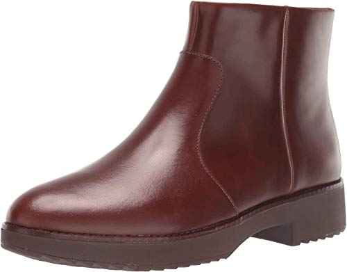 FitFlop Maria Welted Ankle Bootie-Leather, Botines Mujer, Brown Chocolate Brown 167, 42 EU