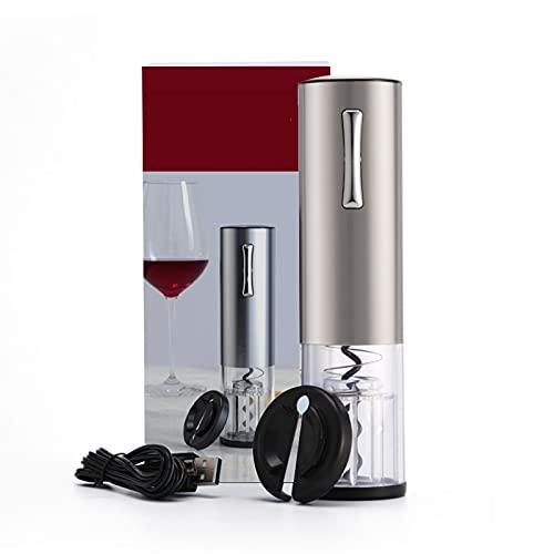 Kit De Abridor De Botellas De Vino Eléctrico, Sacacorchos Automático Recargable, Contiene Cortador De Papel De Aluminio, Tapón De Vacío Y Vertedor De Aireador De Vino, Con Cable De Carga USB
